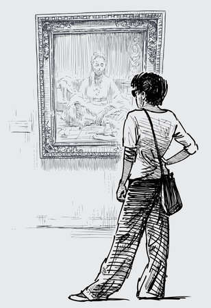 Hand drawing of young woman looking at picture in city museum