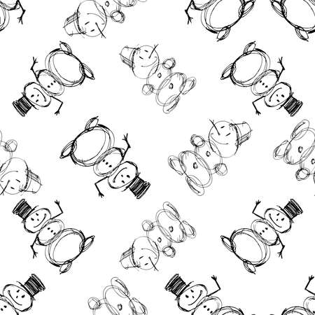 Seamless vector pattern of outlines funny christmas snowmen Illustration