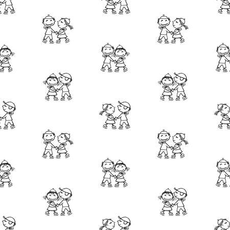 Seamless pattern of outlines cheerful cartoon kids skating