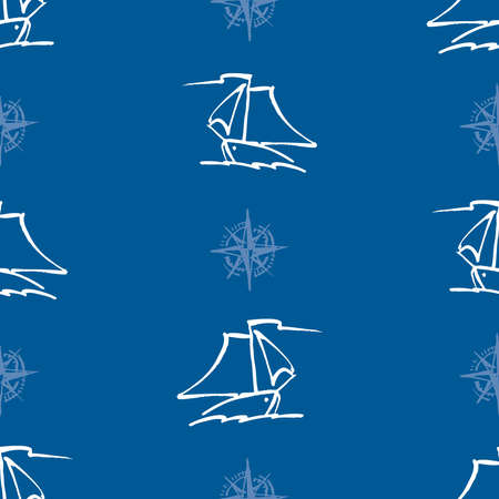 Seamless pattern of outlines sailing yachts in sea Illustration