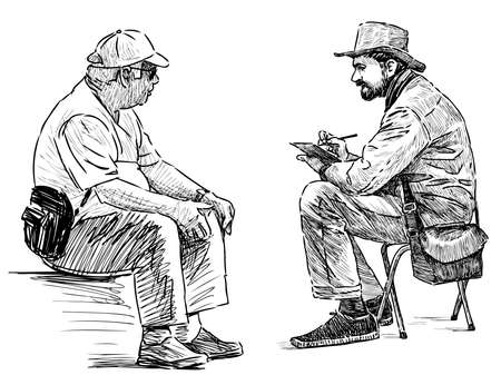 Freehand image of street artist drawing portrait of elderly man