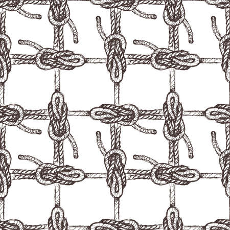 Vector seamless background of drawn sea knots