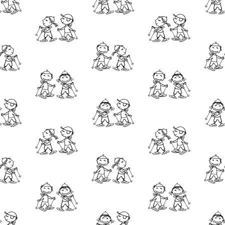 Seamless pattern of outlines cartoon cheerful kids skiing