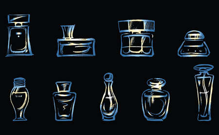 Vector image of set outlines different perfumes bottles