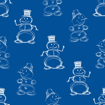 Seamless pattern of sketches cheerful christmas snowmen