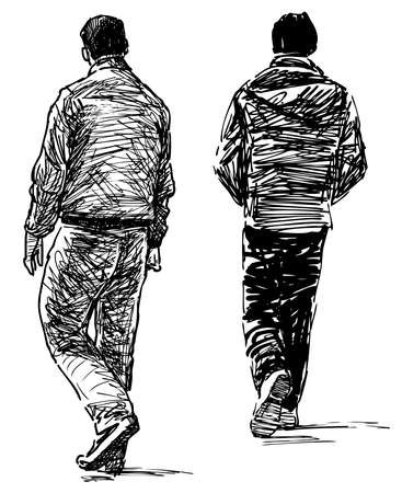 Freehand drawing of casual city pedestrians walking along street