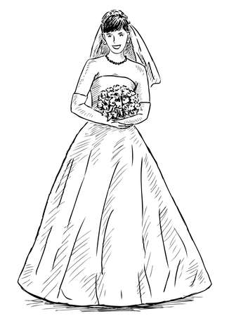 Freehand drawing of smiling happy bride with bouquet Illustration