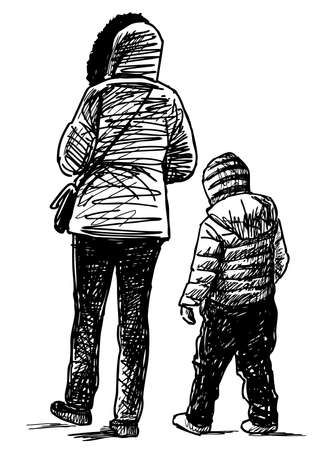 Sketch of a young mother with her small son strolling together Illustration