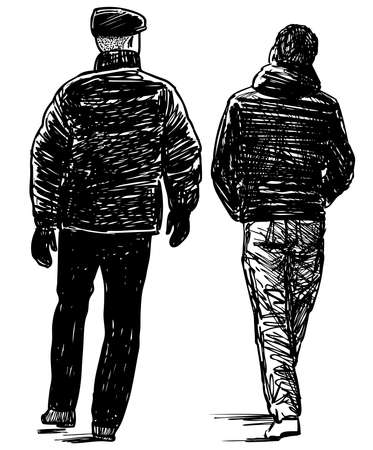 Sketch of a father with his teenager son walking outdoors