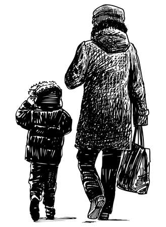 Sketch of a townswoman with little child walking along street