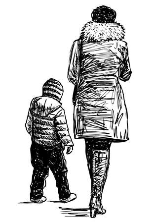 Freehand drawing of a woman with her little child walking together Illustration