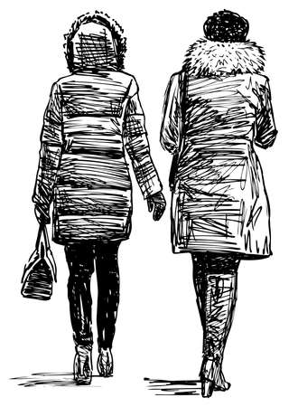 Freehand drawing of two young city woman walking together along street