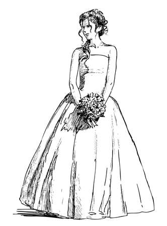 Sketch of young woman in wedding dress with bouquet Illustration