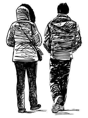 Freehand drawing of couple casual citizens walking along street