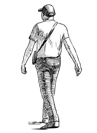 Sketch of casual young men striding along street on summer day