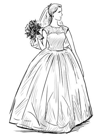 Freehand drawing of young happy bride with bouquet