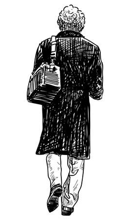 Sketch of man in black coat with bag walking down street Illustration