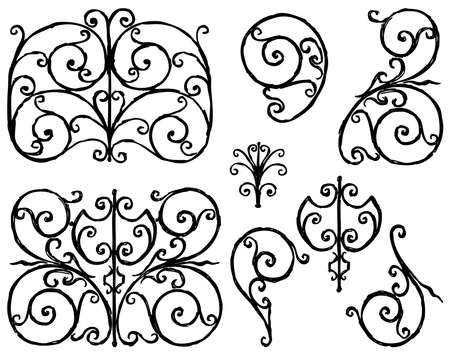 Contour drawings of set ornamental vintage design elements