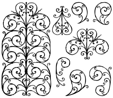 Freehand drawing of set decorative vintage design elements