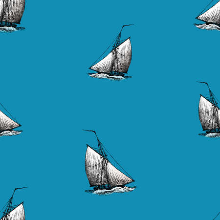 Seamless background of sketches ancient sailing boats in the sea