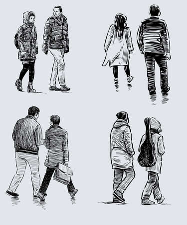 Sketches of casual couple citizens walking down street