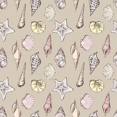 Seamless pattern of sketches different sea shells Illustration