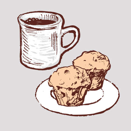 Vector drawing of coffee cup and muffins on saucer