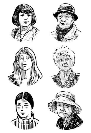 Sketches of various faces young girls and elderly women
