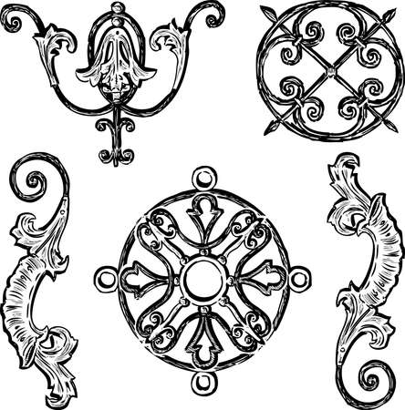 Freehand drawing of various decorative vintage design elements