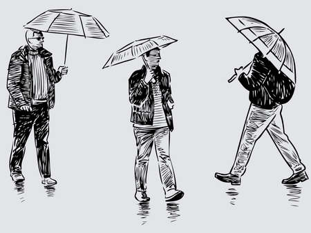 Sketches of casual townsmen walking under umbrellas along street