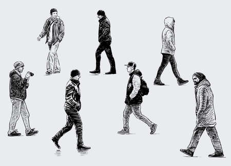 Freehand drawings of casual male pedestrians striding along street