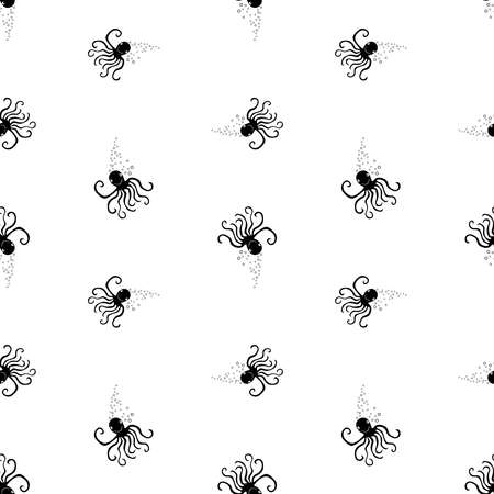 Seamless pattern of silhouettes funny cartoon octopuses