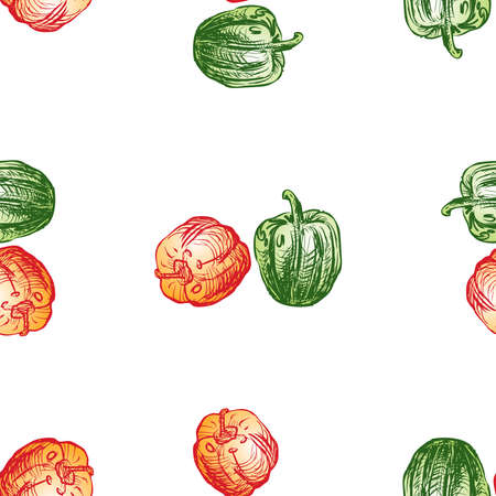 Seamless background of drawn sweet green and red peppers