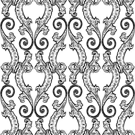 Seamless pattern of decorative vintage leaves with swirls Illustration
