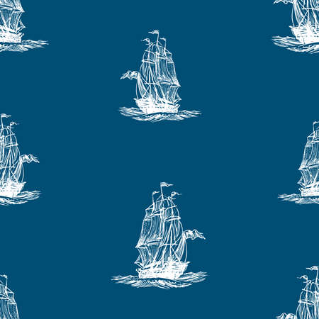 Seamless background of sketches ancient sailing ship in the sea