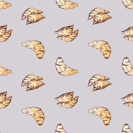 Seamless pattern of sketches fresh growing for breakfast