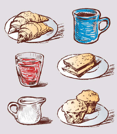 Vector image of sketches various pastries and beverages for breakfast Illustration