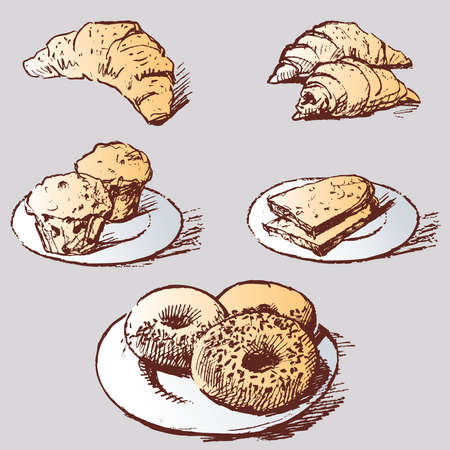 Vector image of sketches various pastries for breakfast Illustration