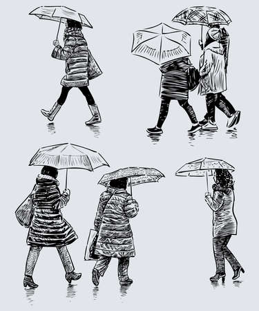 Sketches of casual women walking under umbrellas down street