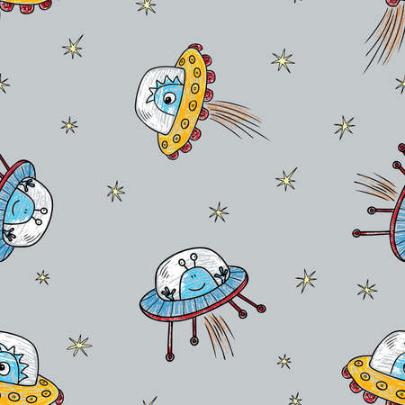 Seamless background of cartoon drawn aliens in flying saucers