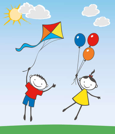 Vector image of cheerful kids flying with balloons and kite on summer day