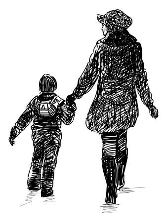 Freehand drawing of a mother with his little child walking together for a stroll Vecteurs