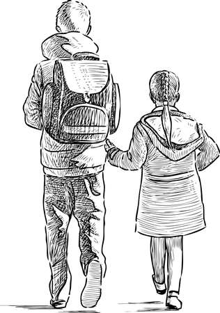 Sketch of brother and sister walking outdoors together
