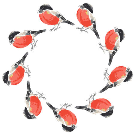 Vector round frame from watercolor sketches of bullfinches