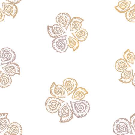 Seamless pattern of decorative drawn nautilus seashells