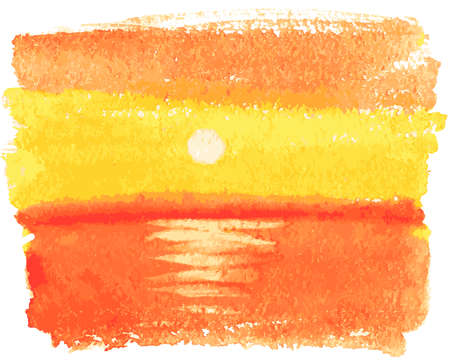 Vector drawing of watercolor seascape of orange sunset over sea surface Vectores
