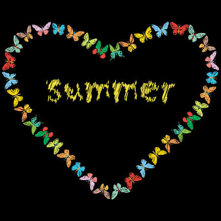 Vector image of decorative heart shape from various drawn colorful butterflies with lettering summer Vectores