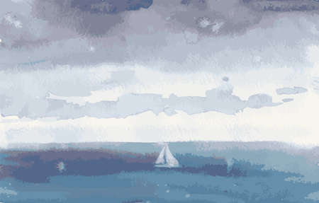 Vector image of watercolor seascape of lonely sailing ship in stormy sea