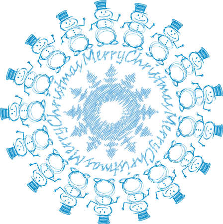Vector image of decorative round design element from sketches christmas snowmen snowflake and lettering