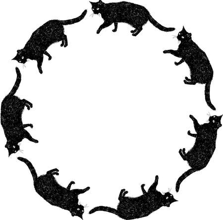 Vector round frame from sketches black domestic cat Vectores